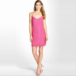 Lilly Pulitzer Pink Dusk Dress In Metallic Lace